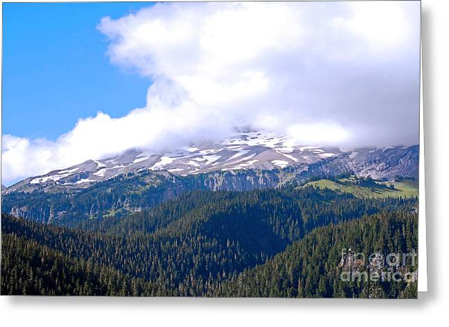 Glaciers In The Clouds. Mt. Rainier National Park Greeting Card by Connie Fox