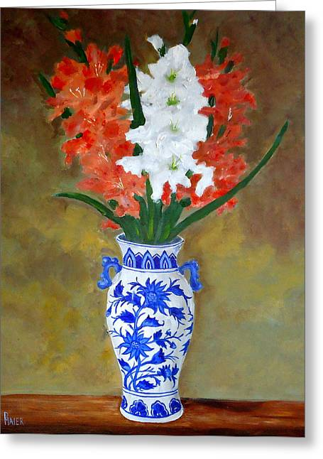 Gladiolas Paintings Greeting Cards - Glad allover Greeting Card by Pete Maier