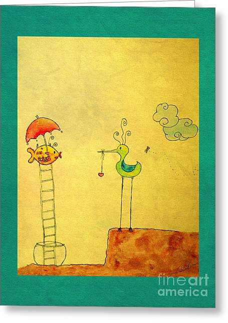 Naive Art Greeting Cards - Glad Meeting You Greeting Card by Aimelle