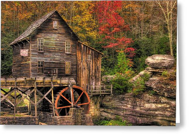 Leaf Peepers Greeting Cards - Glade Creek Grist Mill-1A Babcock State Park WV Autumn Late Afternoon Greeting Card by Michael Mazaika