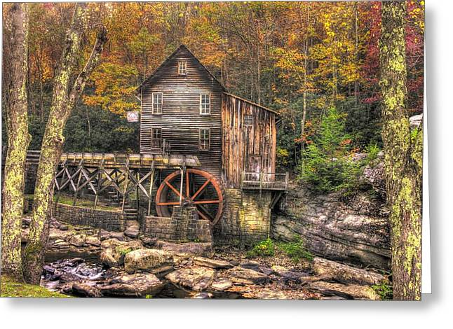 Grist Mill Greeting Cards - Glade Creek Grist Mill-3A Babcock State Park WV Autumn Late Afternoon Greeting Card by Michael Mazaika