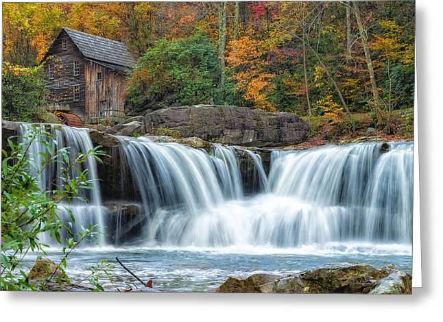 Babcock Greeting Cards - Glade Creek Grist Mill and Waterfalls Greeting Card by Lori Coleman