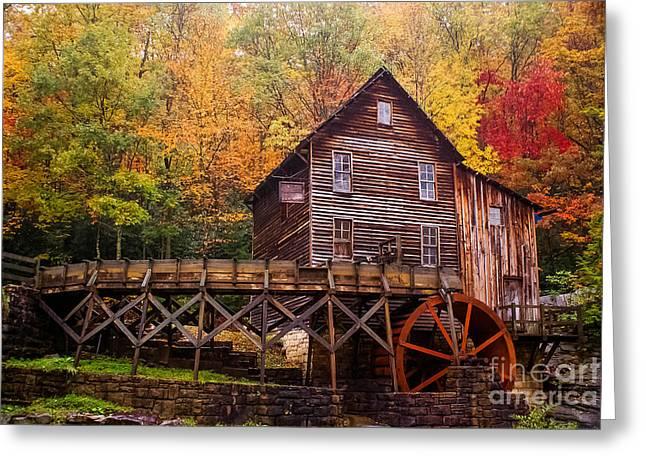 Glade Creek Grist Mill Greeting Card by B Wayne Mullins