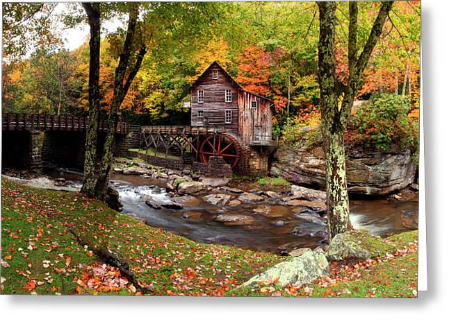 Glade Creek Grist Mill, Babcock State Greeting Card by Panoramic Images