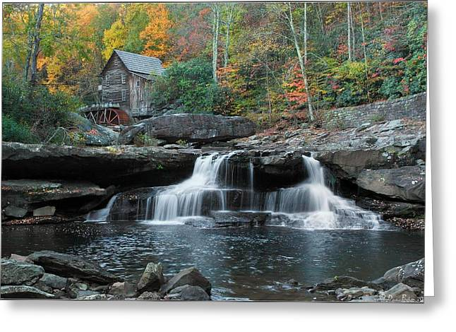 Virginia Pyrography Greeting Cards - Glade Creek Grist Mill Falls Greeting Card by Daniel Behm