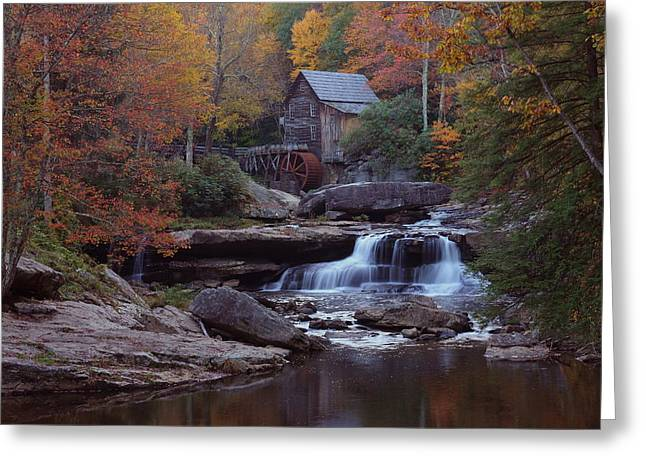 Glade Creek Greeting Cards - Glade Creek Grist Mill in autumn Greeting Card by Jetson Nguyen