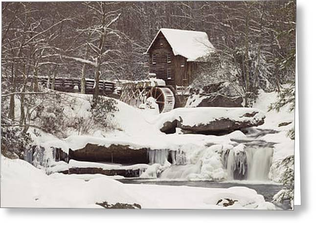 Glade Creek Grist Mill In Winter Greeting Card by Panoramic Images