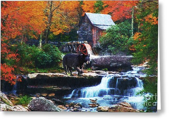 Seasonal Prints Rural Prints Greeting Cards - Glade Creek Grist Mill Greeting Card by Lianne Schneider
