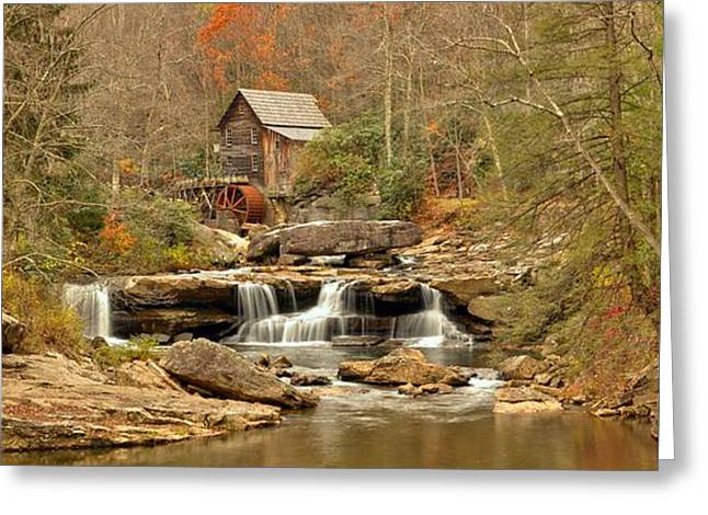 Glade Creek Grist Mill Panorama Greeting Card by Adam Jewell