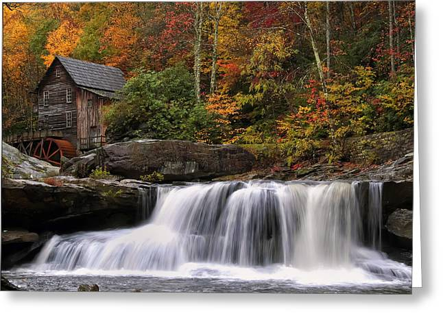 Fall Photos Greeting Cards - Glade Creek grist mill - Photo Greeting Card by Chris Flees