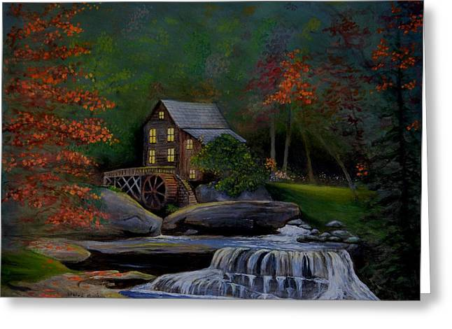 Grist Mill Paintings Greeting Cards - Glade Creek Grist Mill Greeting Card by Stefon Marc Brown