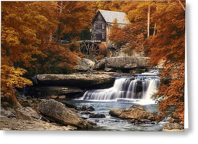 Glade Creek Greeting Cards - Glade Creek Mill in Autumn Greeting Card by Tom Mc Nemar