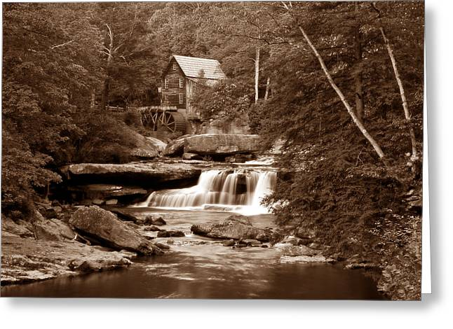 Grist Mill Greeting Cards - Glade Creek Mill in Sepia Greeting Card by Tom Mc Nemar