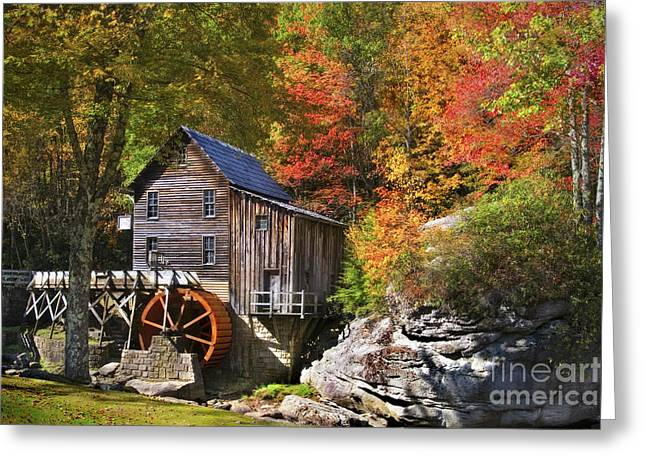 Recently Sold -  - Water Flowing Greeting Cards - Glade Creek Mill Greeting Card by T Lowry Wilson