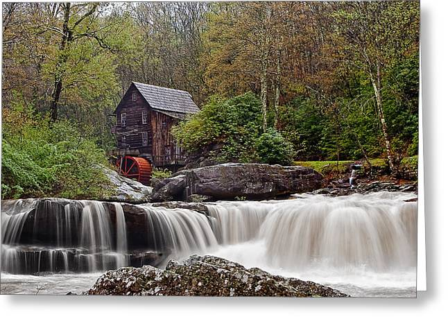 Grist Mill Greeting Cards - Glade Creek waterfall Greeting Card by Marcia Colelli
