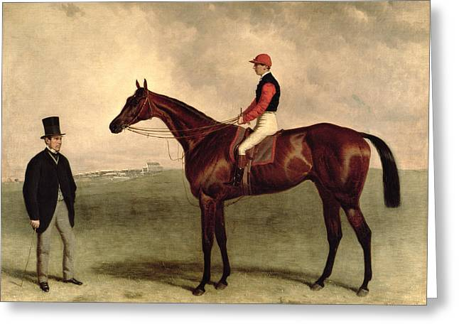 Turf Greeting Cards - Gladiateur with Harry Grimshaw Up and His Owner Count Frederic de Lagrange Greeting Card by Harry Hall
