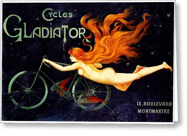 Belle Epoque Mixed Media Greeting Cards - Gladiator Cycles Greeting Card by Charles Ross