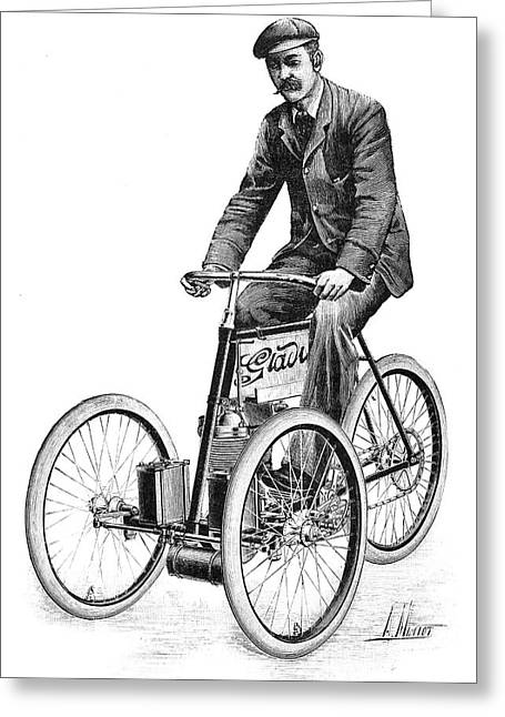 Steering Greeting Cards - Gladiator petrol tricycle, 1897 Greeting Card by Science Photo Library