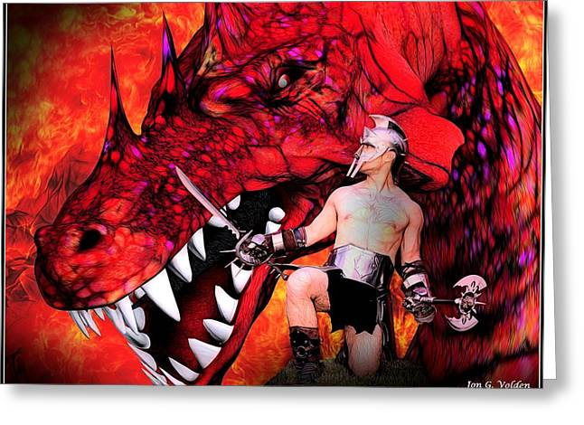 Dungeons Greeting Cards - Gladiator vs Dragon Greeting Card by Jon Volden