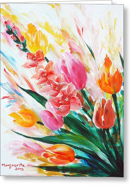 Floral Sculptures Greeting Cards - Gladiola 1 left Greeting Card by Marguerite Ujvary Taxner