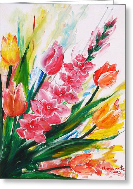 Floral Sculptures Greeting Cards - Gladiola 2 right Greeting Card by Marguerite Ujvary Taxner