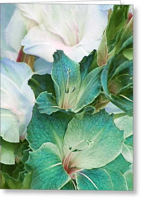 Gladiolas Greeting Cards - Gladiola Flowers Bouquet Teal  Greeting Card by Jennie Marie Schell