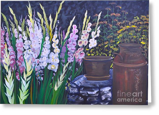 Gladiolas Paintings Greeting Cards - Gladiola Garden Greeting Card by Sally Rice