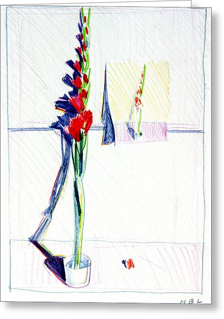 Gladiolas Paintings Greeting Cards - Gladiolas pic. in pic. Greeting Card by Mark Lunde
