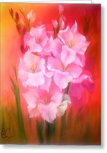 Gladiolas Paintings Greeting Cards - Gladiolas Sunburst Greeting Card by Fineartist Ellen