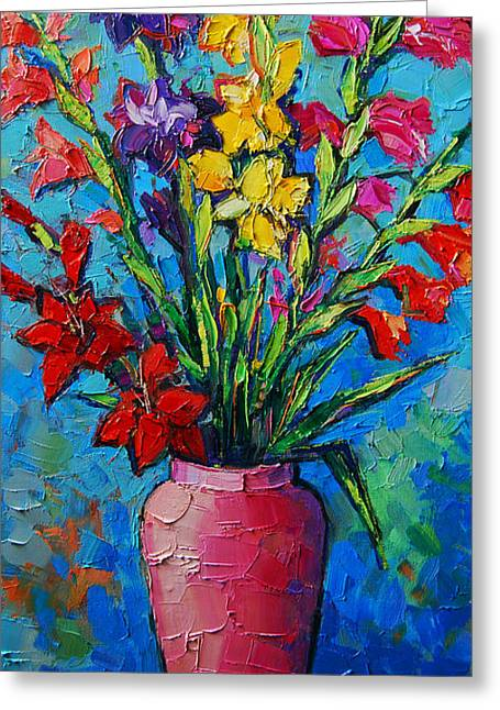 Emona Greeting Cards - Gladioli In A Vase Greeting Card by Mona Edulesco