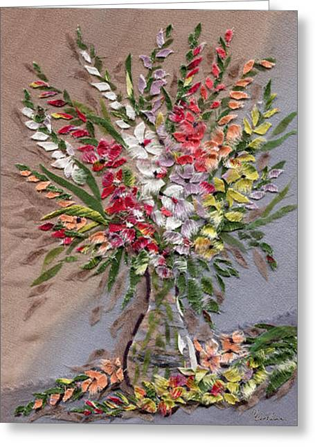 Flower Still Life Tapestries - Textiles Greeting Cards - Gladioli Greeting Card by Marina Gershman