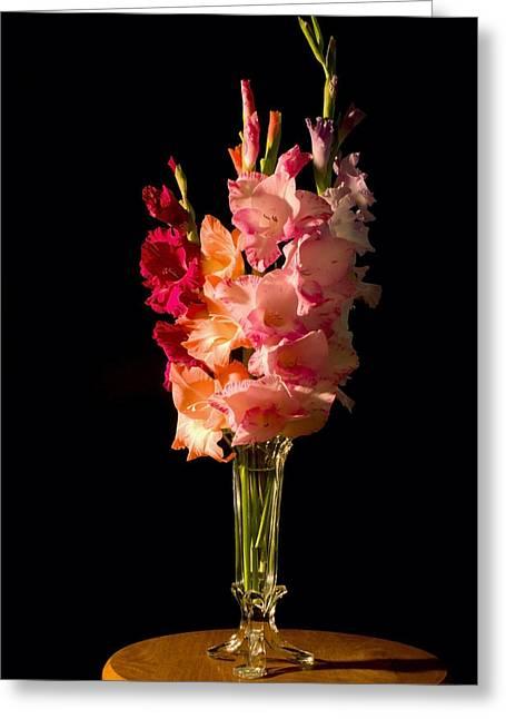 Gladioli Greeting Cards - Gladiolus Flower Bouqet Greeting Card by Keith Webber Jr
