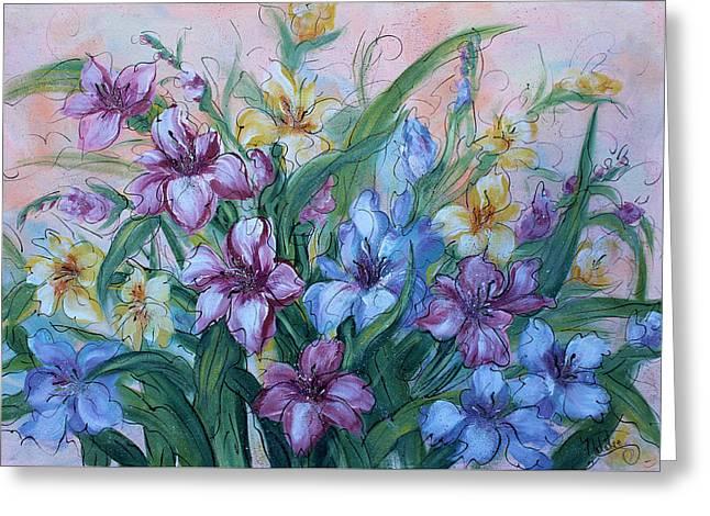 Gladiolus Greeting Card by Natalie Holland