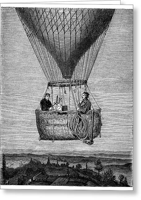 Glaisher-coxwell Balloon Flight Greeting Card by Science Photo Library