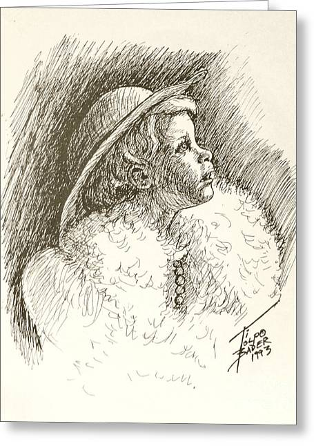 Pen And Ink Framed Prints Greeting Cards - Glamor Child Greeting Card by Art By - Ti   Tolpo Bader