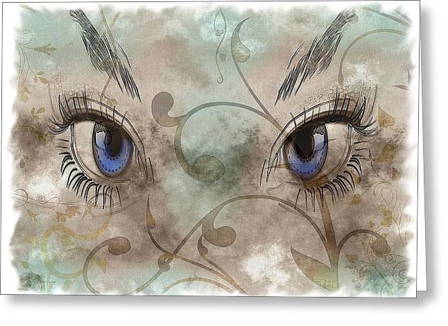 Abstractions Drawings Greeting Cards - Glamor Eyes Greeting Card by Mountain Dreams