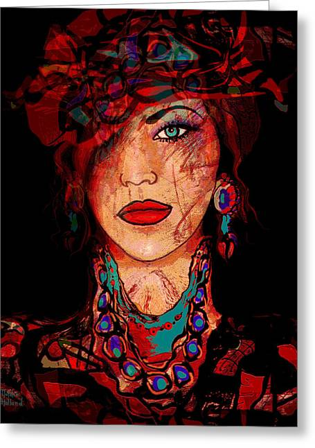 Self-portrait Mixed Media Greeting Cards - Glamor Greeting Card by Natalie Holland