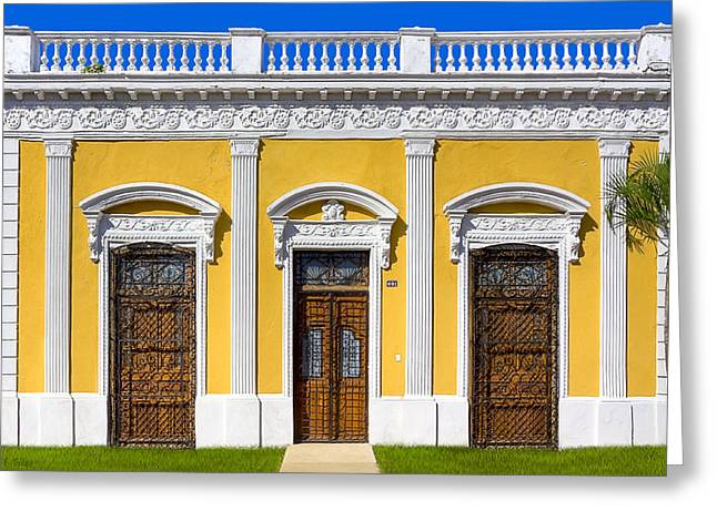 Greek Friezes Greeting Cards - Glamorous Architecture on Paseo de Montejo - Merida Greeting Card by Mark Tisdale