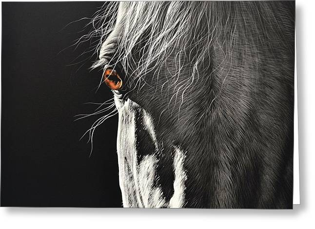 Equine Mixed Media Greeting Cards - Glance Greeting Card by Elena Kolotusha