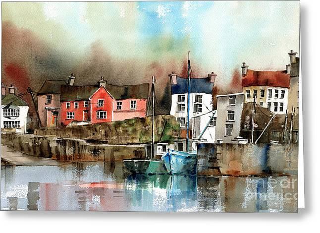 West Cork Greeting Cards - Glandore Harbour West Cork Greeting Card by Val Byrne