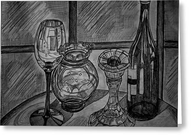 Table Wine Drawings Greeting Cards - Glas and light Greeting Card by Ulrike Proctor