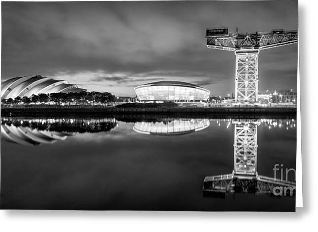 River Clyde Greeting Cards - Glasgow by night Greeting Card by John Farnan