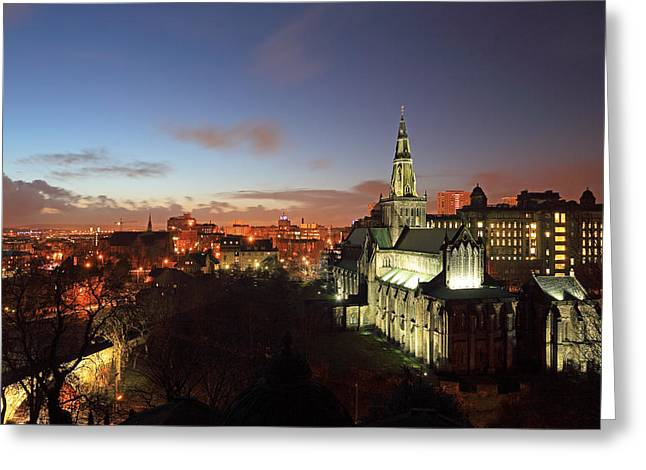 Night Scenes Greeting Cards - Glasgow Cathedral Greeting Card by Grant Glendinning