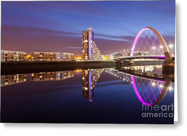 Night Scenes Photographs Greeting Cards - Glasgow River at night Greeting Card by John Farnan