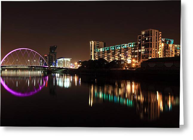Night Scenes Greeting Cards - Glasgow River Clyde Greeting Card by Grant Glendinning