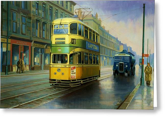 Streetscenes Paintings Greeting Cards - Glasgow tram. Greeting Card by Mike  Jeffries