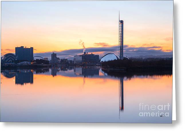 Exhibition Greeting Cards - Glasgow waterfront at Dawn Boxing day Greeting Card by John Farnan