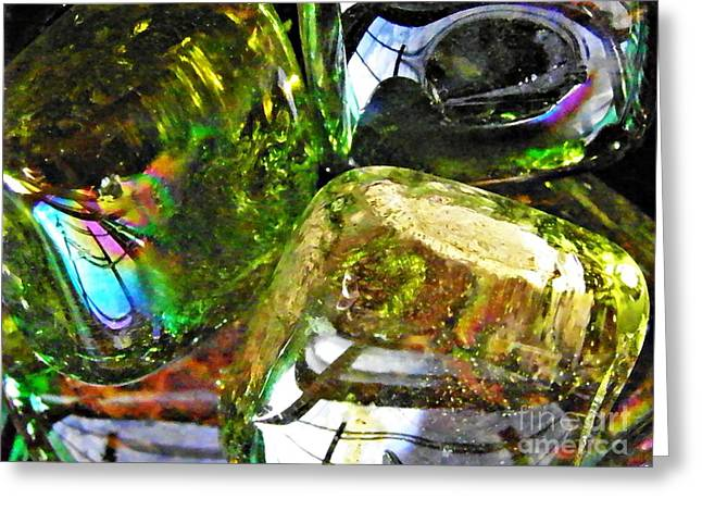 Green And Yellow Abstract Greeting Cards - Glass Abstract 119 Greeting Card by Sarah Loft
