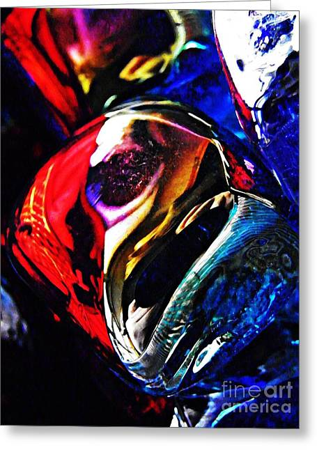 Cut Glass Greeting Cards - Glass Abstract 234 Greeting Card by Sarah Loft