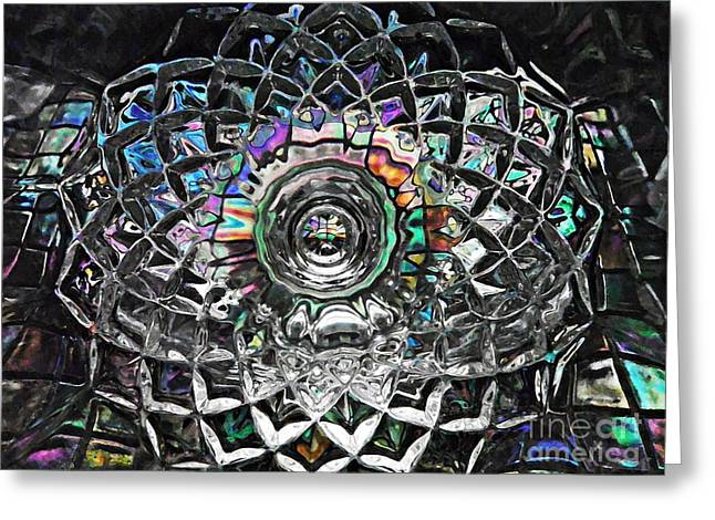 Cut Glass Greeting Cards - Glass Abstract 430 Greeting Card by Sarah Loft